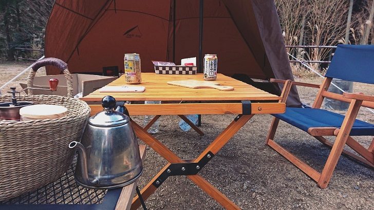 キャンプで映えるロールトップテーブル自作_完成