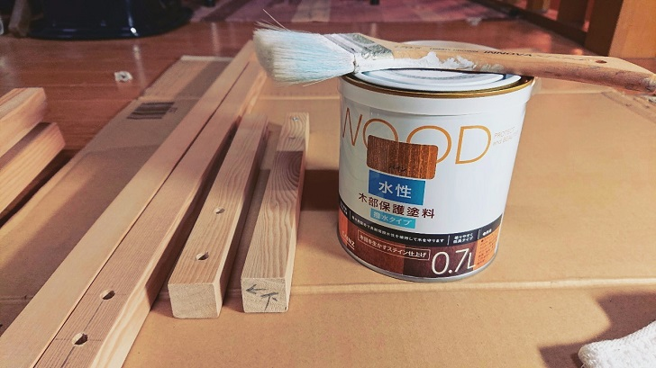 キャンプで映えるロールトップテーブル自作_01_木材塗装前
