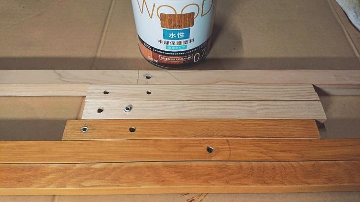 キャンプで映えるロールトップテーブル自作_03_木材塗装後2