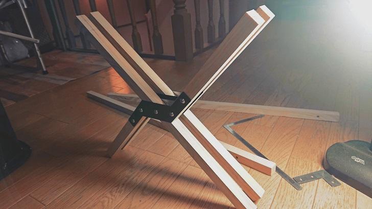 キャンプで映えるロールトップテーブル自作_05_木材仮組