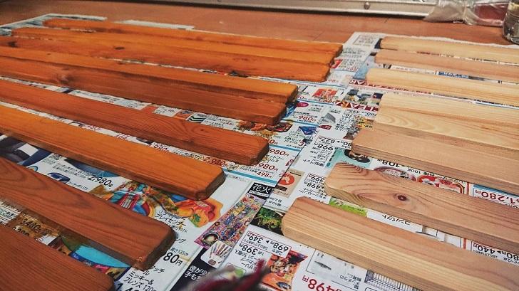 キャンプで映えるロールトップテーブル自作_06_木材塗装後_天板
